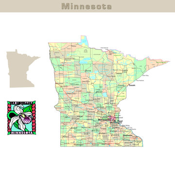 USA states series: Minnesota. Political map with counties