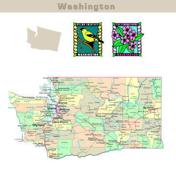 USA states series: Washington. Political map with counties