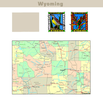 USA states series: Wyoming. Political map with counties
