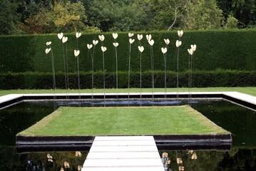 Fountain in garden in the shape of a flower