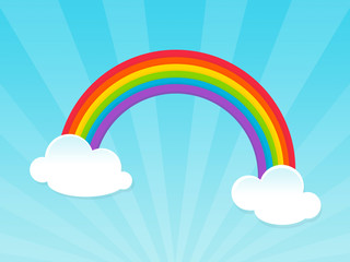 happy rainbow over blue sky