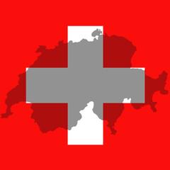 Fond de carte Suisse translucide devant drapeau