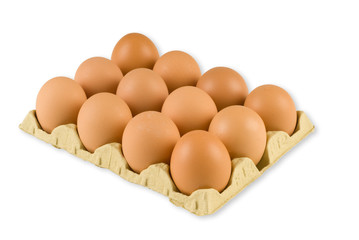 A box of fresh hens eggs isolated on white with clipping path
