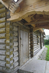 Ancient Russian loghouse near Saint Petersburg, Russia