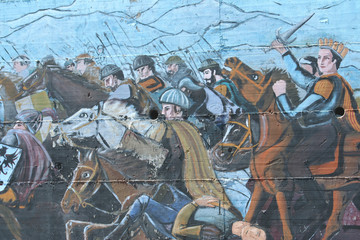 fresque, bataille médiévale