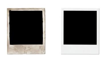 New and aged polaroid on white