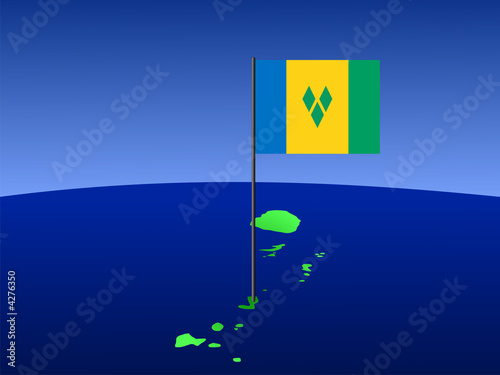 map of St Vincent with flag