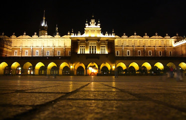 Krakow square at night