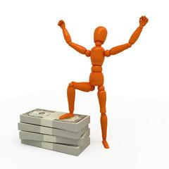 Orange mannequin with stack of money