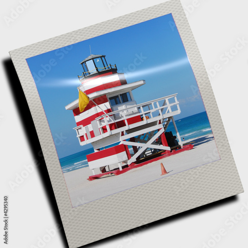 lifeguard cabin in polaroid slide stock photo and royalty free