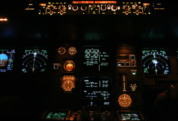 Wall Mural - commercial aircraft panel at night