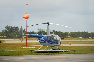 Light helicopter on the ground
