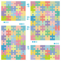 Jigsaw puzzle patterns of various dimensions