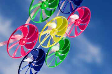 spinner toy under blue skies