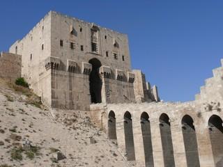 Citadel fortifications gateway, castle doorway, Aleppo, Syria