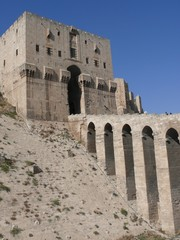 Citadel fortifications, castle gateway, Aleppo, Syria