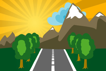 Road to mountains on a decline. The vector image.