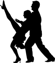 Couple dancers silhuette vector illustration