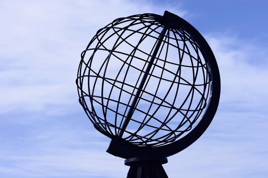 The globe at the North Cape: the Northernmost point of Europe