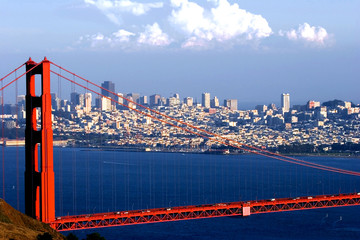 Fototapete - golden gate and downtown of san francisco