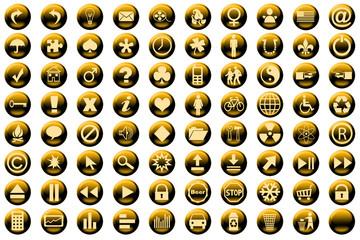 web icon set yellow
