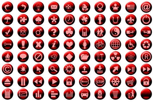 web icon set red