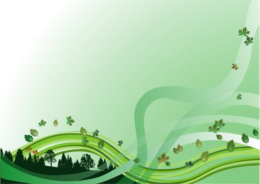 Forêt et feuilles volantes sur vague verte