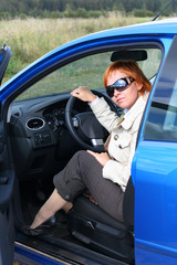 Woman and a car
