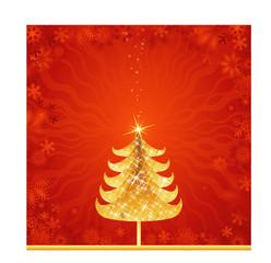 shining golden christmas tree, vector illustration