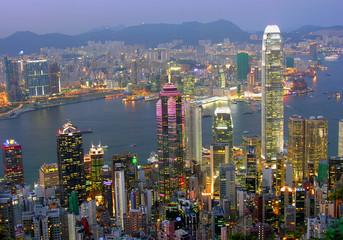 Foto op Aluminium Hong-Kong Blick auf Hong Kong am abend