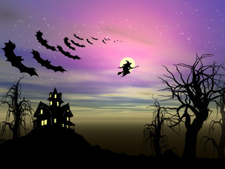 Halloween theme: Witch and bats are flying over the old house