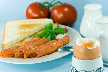 breakfast with sausage,boiled egg and toast 2