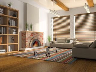 Interior of drawing-room with fireplace 3D rendering