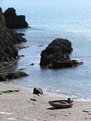 Wooden boat on South Devon beach