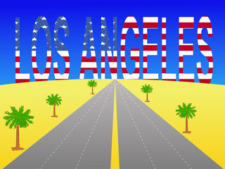 freeway to Los Angeles with American flag