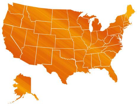 Carte Etats Unis Orange Brillant