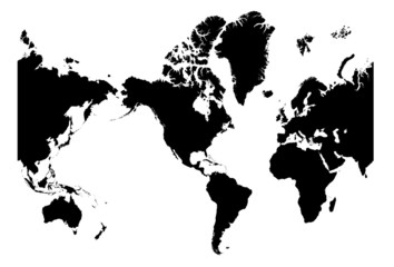 America centered world map