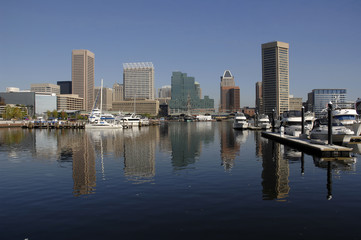 Baltimore skyline reflected in the Inner Harbor