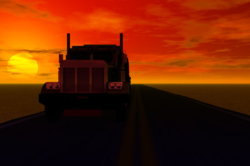 shadow of truck with sunset