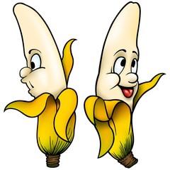 Two Bananas - cartoon illustration