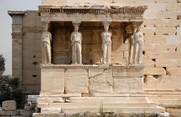 Caryatids in the acropolis, closeup