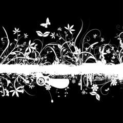 Printed roller blinds Butterflies in Grunge Floral grunge