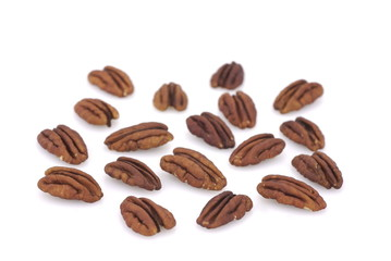 Pecans isolated on white back ground