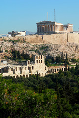 Acropolis in Athens from Philopappos hill