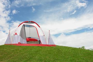 Fototapeta tienda camping en monta–a obraz