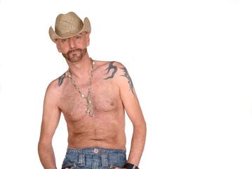 Tattoo, hat wearing man
