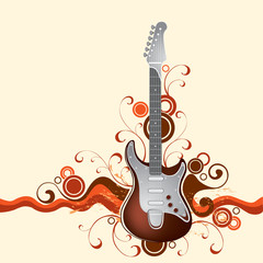 Guitar on a background