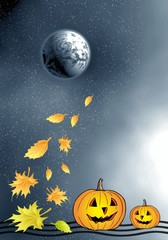 Moon and pumpkins and foliage