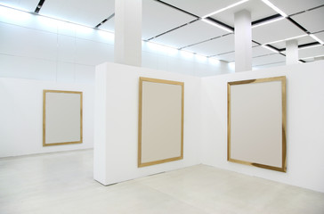 exebitions hall with blanc frames