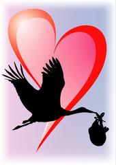 Cigogne devant un coeur rose